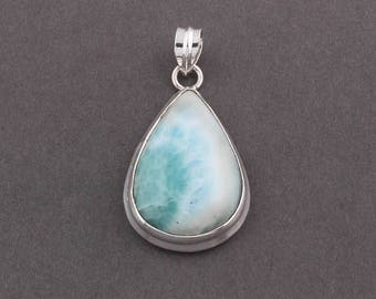 50% off 1 Pc Natural Larimar Pear Shape 40mmx25mm Pendant With 925 Sterling Silver Guarantee SP092