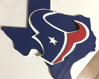 Wooden state of Texas with 3D Houston Texans Logo