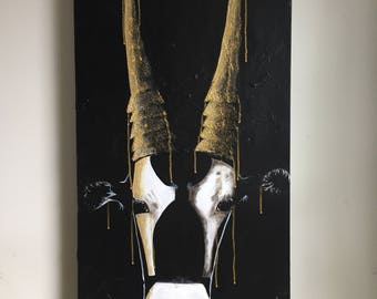 "Corneliu antelope, acrylic on canvas Gallery, 18 ""x 36"""