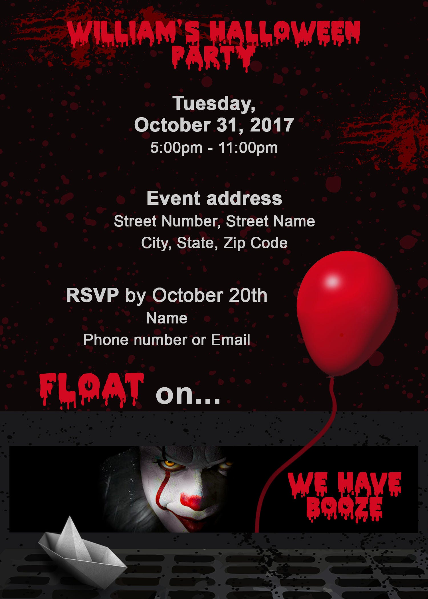 Pennywise Invitations , Pennywise Clown , Spooky Clown , Scary ...