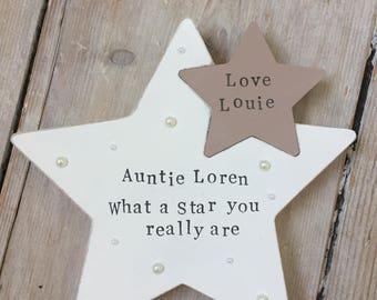 Christening Gift/Personalised Gift/Birthday Gift/Freestanding Star/Wedding Gift/New baby gift/Baby shower Gift/Keepsake