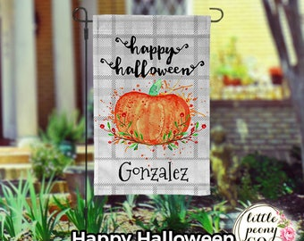 Personalized Halloween Wreath Garden Flag - Fun Pumpkin Halloween Wreath and Names Yard Flag