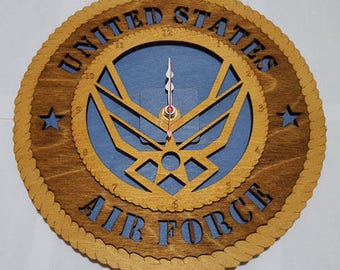 United States Air Force Wings Clock Wooden Model