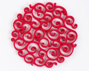 Red Coaster - Set of 4 - Unique Design - Drinkware/Barware