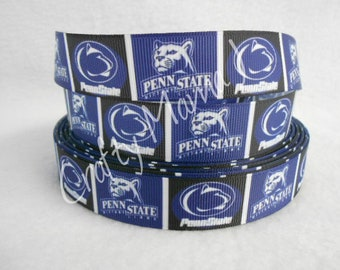 "Penn State Nittany Lions 7/8"" Grosgrain Ribbon by the yard. Choose Between 3/5/10 yards. Pennsylvania College University"