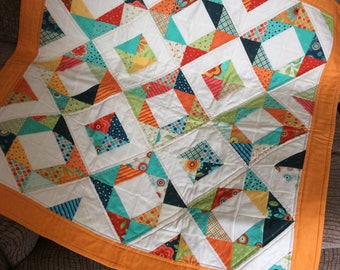 Yellow and Cream Patchwork Lap Quilt