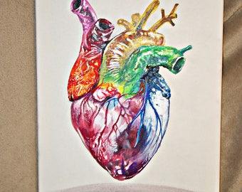 Heart of Iris Rainbow Heart Love Canvas Art Handpainted