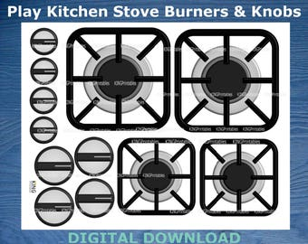 Printable Stove Burners, Play Kitchen Accessories, DIY Stove Parts, Toddler Pretend Play, Digital Download