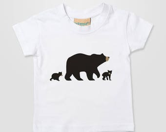 Bear Grizzly Teddy Black Brown Cub Momma Papa Fun Kids Baby Home Cute Xmas Gift T Shirt Top Tee Boy Girl 0-6 months - 3-4 years