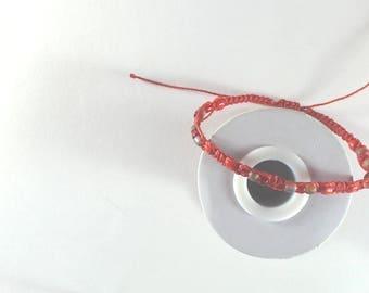Bracelet fine man macrame and beads