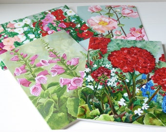 Pack of 4 Floral Greeting Cards - (A6 Size - Set 2) - From the artwork of Cassie Butcher