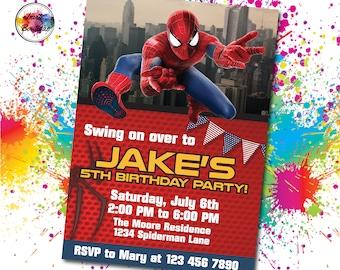 Spiderman invitation, Spiderman invite, Spiderman Birthday, Spiderman Party, Spiderman digital, Spiderman invite,IB 025 Spiderman