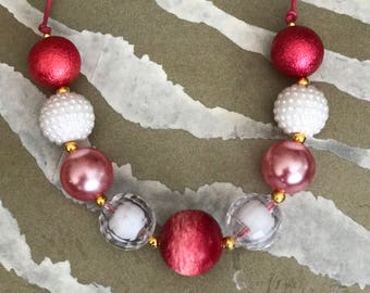 Rose Blush       Red - White - Classic - Chunky Bubblegum Bead Necklace