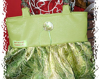 Handbag, evening lamé fabric and faux green leather bag