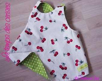 Lightweight cotton fillete summer reversible cherry and green tunic size 2/3 years