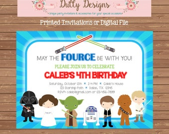 Star Wars Birthday Invitation, Star Wars Invitation, Star Wars Birthday Invite, Star Wars Party Invitation, Chalkboard Invitation