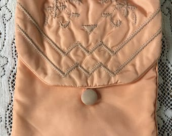 vintage peach satin lingerie bag with covered button and trapunto stitching