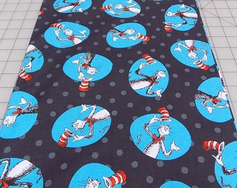 The Cat in the Hat Fabric, Black, Dr Seuss Fabric, Cat Hat, Robert Kaufman, Seuss Birthday, Book, Reading, Cotton, Woven, Fabric by the Yard