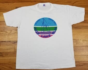Vintage 80s Azel Lake Run Marathon Single Stitch Crew Neck Vaporwave Sail Boat Size XL Rare Rainbow