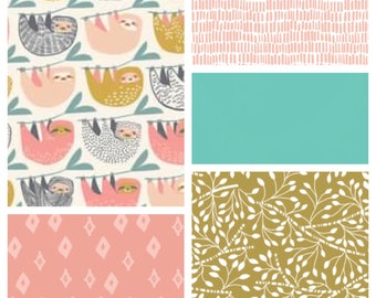 Little Sloth Baby Girl Bedding - Minky Blanket, Sheet, Crib Skirt - Pink, Gold and Pale Teal