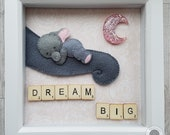 Nursery decoration. Birthday gift. Newborn gift. Mother's Day gift. Baby shower gift. Deep box decoration. Elephant picture. Sleeping baby