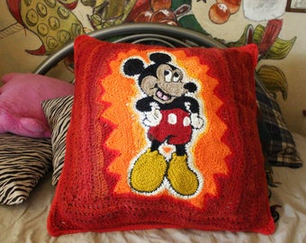 Mickey Mouse Freeform Crochet Pillow