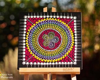 "Original hand painted Dot Art, Dot Painting ""Rainbow Flower Circle"" colourful wall art  #6. Free Shipping"