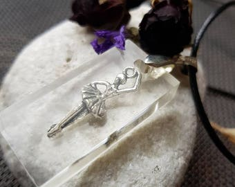Handmade Resin Necklace Rectangle Pendant with Silvered Ballerina