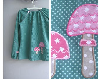 Tunic, blouse, green / mint, mushrooms