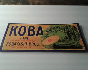 20- 1940 koba kind kobayashi bros. crate label