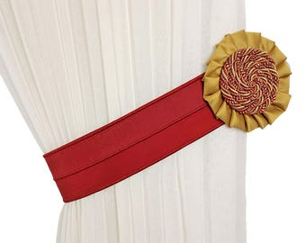 Curtain tie backs burgundy, Curtain decor,  Curtain tiebacks, Drapery tiebacks, Rope decor, Curtain accessories, Cord decor, Cord tie backs