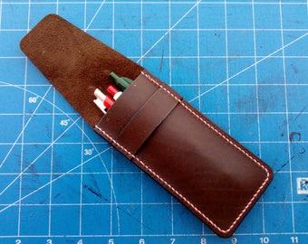 Handmade leather pencil case, Leather pen case, Pen case, Pen holder, Leather pen holder, Pencil holder, Pencil leather case