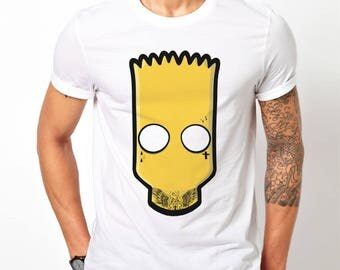 Mens Bart Simpson Fall Out Bart - White T-Shirt