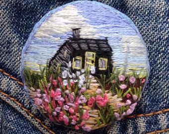 Large Hand Embroidered Brooch
