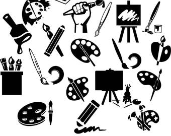 Vector clipart paint brushes, paint, easel, pencils, drawing