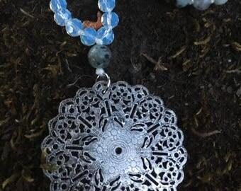 Opalite & Sesame Jasper Mala with Mandala Pendant