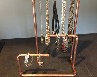 Copper jewelry, tree jewelry holder.