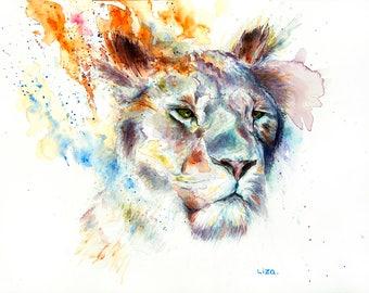 Burning Savanna Lioness Original Watercolor Painting High Quality Giclée Print canvas home decor office nursery animal art gift PRINT