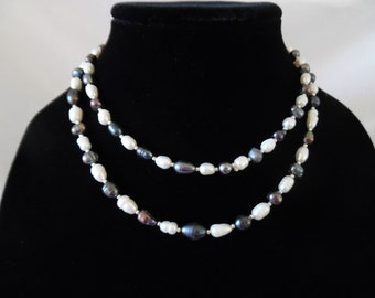Double-Strand Freshwater Pearl Necklace With Silver Accents