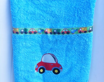 hand towel embroidered baby boy Terry oeko tex 100 (the name embroidery available)
