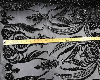 Black empire design embroider with sequins on a 2 way stretch mesh-wedding-bridal-prom-nightgown-dresses-sold by the yard.NEW!