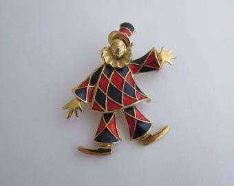 Vintage Jewellery Clown Brooch Pin Unsigned Sphinx Red Blue Enamel Harlequin Gold Tone Metal 1970s Marked Numbered A1383