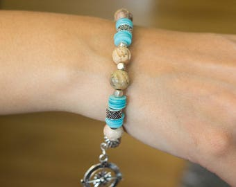 Beige and Turquoise Bracelet