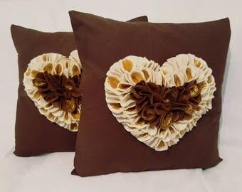 Designer, Exclusive 3D Brown, Gold, Cream Love Heart Decorative Cushion Cover