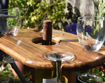 Folding Garden Wine table with glasses