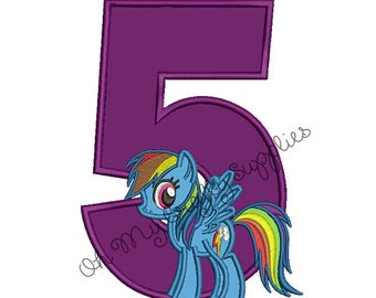 Color Spectrum Pony with number 5 Applique Embroidery Design