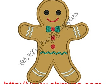 Gingerbread man Christmas Applique Embroidery Design
