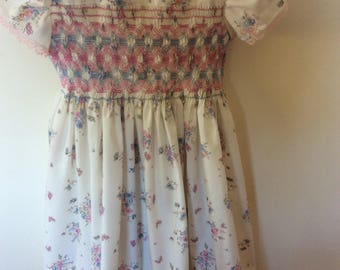 White Pink and Blue Printed Smocked Dress - 5 years (1 dress in stock)