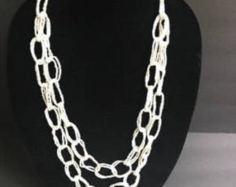 Beaded Chain Necklace - Multi-Strand - Vintage Jewelry