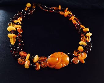 Amber beads and carved amber necklace